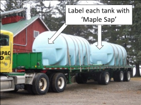 Maple sap tanks on truck